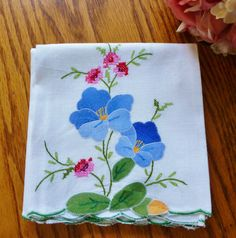 Vintage Linen Kitchen Towel Blue Flowers With by vintagelady7