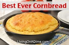 Best Ever Easy Cornbread Recipe for only $1.00!! I loved drowning my cornbread in syrup until I discovered this easy cornbread recipe. This cornbread is so delicious I can eat it with nothing on it! It is sweet and moist, easy to make and has the best flavor! It's great to use to make dressing (stuffing) or to serve with stews, soups or chili. It is so good, it will probably become a staple in your home!