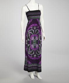 8e84405728 India Boutique Purple Flower Shirred Maxi Dress