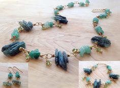 Green Kyanite Spiky Bead Necklace, Bracelet and Earring set, green Aventurine and Peridot,  brass wire wrapped, green gemstone, gift for her