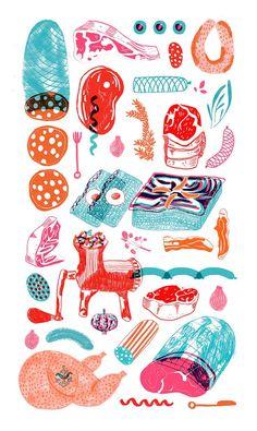Meat drawing illustration 47 ideas for 2019 Illustration Design Graphique, Art Graphique, Pattern Illustration, Graphic Illustration, Texture Illustration, Meat Drawing, Food Drawing, Drawing Art, Drawing Ideas