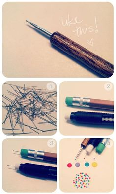 NAILS - how to make your own dotting tools- this pin is a lifesaver when trying to do cool little designs on my nails