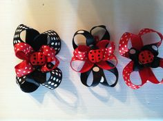 Ladybug hair bow clips-I made these for my daughters soccer team!