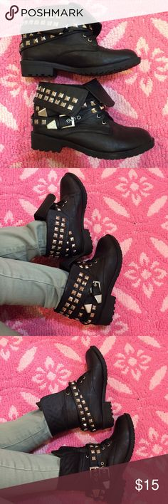 Sz 6 Punk rock, Studded, Stylish, Combat boots! Great condition! Smoke free home. Make an offer!!! (Price will increase tomorrow! Posted it low to go along with my sale of the night!!! Check out my other listings, my bundle discount is also higher for the night!!!) Charlotte Russe Shoes Ankle Boots & Booties