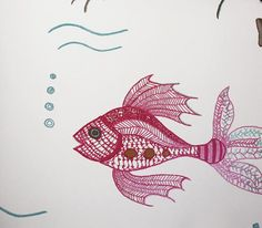 Aquarium Wallpaper Off white wallpaper with colourful fishes, done in a stitch style