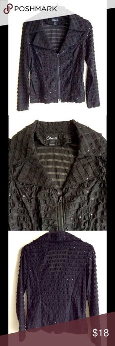 """Semi Sheer Black Jacket Tiers o'Ruffles & SEQUINS Clara S., Size Small, Black Short Jacket in semi Sheer poly spandex with tiers of ruffles highlighted with small black sequins for a subtle glimmer, wide collar with notched lapel that tapers to a V-neck, princess seaming for fit and exposed chunky black zipper. Measures 15"""" across shoulders, 18"""" armpit to armpit, 22"""" long. Fabulous jacket to elevate any look! BUNDLE & SAVE on Shipping Clara S Jackets & Coats"""