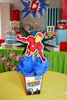 Planning an Iron Man themed party and stuck for ideas? You won't have to break into Stark Industries for any secret party plans! Here's a roundup of 13 Iron Man party ideas that you can Avengers Birthday, Superhero Birthday Party, 4th Birthday Parties, Avenger Party, Iron Man Birthday, Boy Birthday, Birthday Ideas, Iron Man Party, Party Time