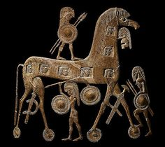 Achaean warriors hidden inside the Trojan Horse. Cyclades Ceramic Amphora  ca. 670 BC