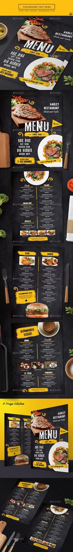 Chalkboard Cafe Menu — Photoshop PSD #classic #print template • Download ➝ https://graphicriver.net/item/chalkboard-cafe-menu/19514143?ref=pxcr
