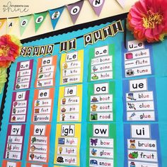 I changed the way my phonics word wall is displayed in my classroom. The color coding makes it nice and easy for my students to find what… Classroom Word Wall, Year 1 Classroom, 2nd Grade Classroom, Classroom Ideas, Math Wall, Classroom Board, Classroom Labels, Music Classroom, Preschool Classroom