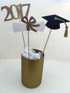 3 centro de mesa palillos 2017 Grad casquillo Diploma graduación de graduación 17 partido de casa abierta Glitter plata, oro, rojo, azul, verde púrpura