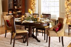 The holiday dining room -- love this look. The Ronan collection by Pier 1. I think it would look great in my home!