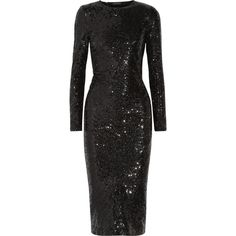 Donna Karan New YorkSequined Stretch-woven Dress ($1,060) ❤ liked on Polyvore featuring dresses, cocktail dresses, black, cocktail party dress, stretch dresses, holiday party dresses, braid dress and night out dresses