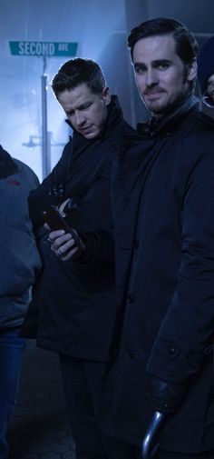 Josh looks really confused at whatever's on Colin's phone :D #CaptainCharming