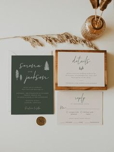 Forest Wedding Invitation Suite Template by Niki Press Designs Forest Wedding Invitations, Wedding Invitation Suite, Four O Clock, Love And Marriage, Place Card Holders, Templates, Weddings, Etsy, Design