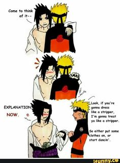 Naruto and Sasuke, funny, text