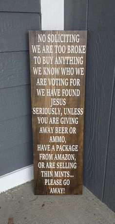 No Soliciting Sign/Funny Front Porch Sign/Rustic No by MemorEase
