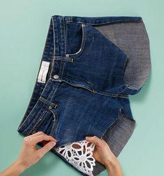 diy skirt with shorts shorts into skirt diy ; skirt to shorts diy ; diy skirt from shorts ; denim shorts to skirt diy ; diy shorts out of skirt ; jean shorts to skirt diy ; shorts to skirt diy how to make ; diy skirt with shorts Refaçonner Jean, Diy Clothes Refashion, Jeans Refashion, Refashioned Clothes, Diy Shorts, Modest Shorts, Diy Kleidung, Diy Vetement, Denim Ideas