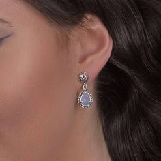 Carolyn Pollack Jewelry // CP Signature Sterling Silver Blue Chalcedony Doublet Drop Earrings