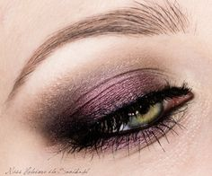 violet metallic smokey eye for green eyes
