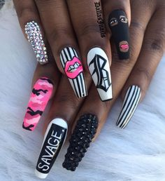 Coffin nails are popular in every season. It is loved by fashionable women because of coffin nails unique shape and every Drip Nails, Aycrlic Nails, Bling Nails, Swag Nails, Coffin Nails, Chanel Nails, Cardi B Nails, Grunge Nails, Stylish Nails