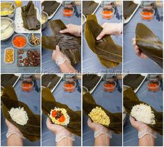 How To Wrap a Pyramid Shaped Sticky Rice Dumpling (五角糉 + Video) Asian Snacks, Asian Desserts, Tamales, Chinese Sticky Rice, Chinese Food, Rice Dumplings Recipe, Dim Sum, Rice Wraps, Malaysian Food