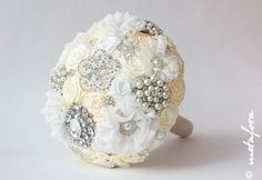Brooch Bouquet Ivory Fabric Bouquet Unique Wedding by feltdaisy, $200.00