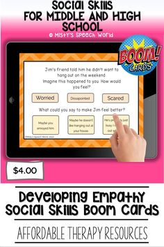 $4.00 · If you're looking for Boom cards for speech therapy to work on social skills for teens, these cards are just what you are looking for. This is a NO prep speech therapy activity: Buy now and you are ready to go! Find this and many more speech therapy resources for teens at Misty's Speech World! Buy now: to purchase this deck of boom cards, click on this pin and purchase to add this therapy resource to your speech therapy toolkit! Learning Cards, Home Learning, Problem Solving Activities, Reading Task Cards, Speech Therapy Activities, Special Education Teacher, High School Students, Social Skills, Teenagers