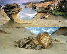 La formación de arenisca antes y después del acto vandálico
