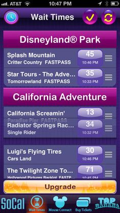 Download a wait time app to help organize your day. Not only will you get wait times for all the rides, but also a map -- that will help you locate the all important bathrooms.