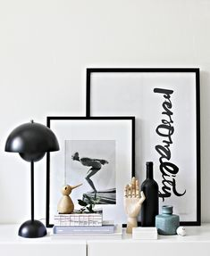 Flower pot lamp from Tradition, Bird from Architectmade and wooden hand from Hay. Via La maison dAnna G. Room Inspiration, Interior Inspiration, Interior Styling, Interior Decorating, Deco Studio, Office Wall Decor, Wooden Hand, Home And Deco, Dream Decor