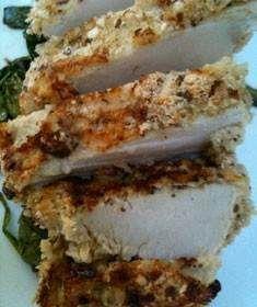 Panko hazelnut crusted turkey tenderloin