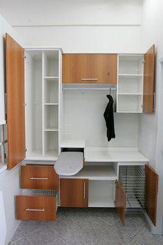 Inspiração de armário para lavanderia (mudar a cor) Laundry Closet, Small Laundry Rooms, Laundry Room Organization, Laundry Room Design, Laundry In Bathroom, Laundry Storage, Interior Design Living Room, Living Room Designs, New Kitchen
