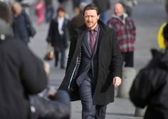 James McAvoy looking incrediblydashing and dapper on the set of Filthin Glasgow. (Photo credit: Jane Barlow for The Scotsman Online)