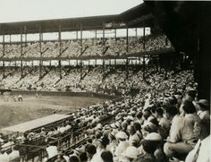 Spectators in stands at Sportsmans Park watch the action at home plate. St Louis Baseball, Baseball Park, Cardinals Baseball, St Louis Cardinals, St Louis Mo, World's Fair, History Museum, Historical Society, Missouri