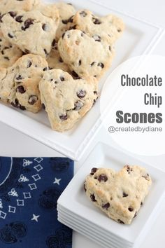 Valentine's Day Desserts - Chocolate Chip Scones Get your family up on Valentine's Day morning with the sweet scent of these chocolatey scones. Just Desserts, Delicious Desserts, Dessert Recipes, Yummy Food, Scone Recipes, Dessert Ideas, Tasty, Biscotti, Cupcakes