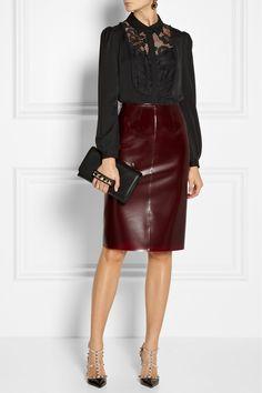 Diane von Furstenberg | Lucia lace-trimmed stretch-silk top | NET-A-PORTER.COM