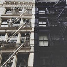 SOHO lofts exterior. black & white