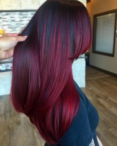 9 bomb burgundy hair ideas because deep red is the new black red hair color, burgundy hair co Deep Red Hair Color, Red Ombre Hair, Purple Wig, Burgundy Hair Colors, Black And Burgundy Hair, Plum Hair, Dark Red Hair, Violet Hair, Hair Colour