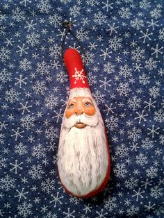 . Santa face handpainted gourd ornament | MountainValleyGifts ...