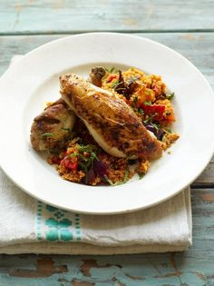 a lovely balanced and healthy roast chicken with couscous by Jamie Oliver Roasted Vegetable Couscous, Herb Roasted Chicken, Roast Chicken, Chicken Couscous, Stuffed Chicken, Crispy Chicken, Lemon Chicken, Rotisserie Chicken, Fried Chicken