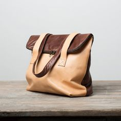 Brown and nude colors genuine leather handbag by PouchPouchBags