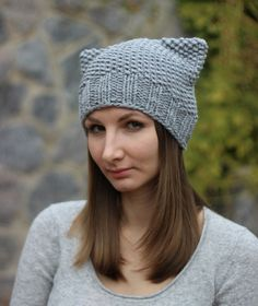 Knitting pattern Beanie pattern Cat hat pattern
