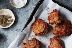 Judy Hesser's Oven-Fried Chicken recipe on Food52:  the genius method calls for only five ingredients and very little active work--feel free to change seasoning to your tastes