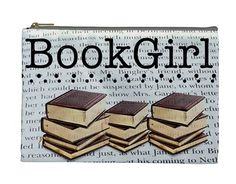 Perfect gift for the teacher, librarian, author, or just all-around book-lover in your life :)     So many uses for this bag! Perfect for make up, documents in the car, organizing a backpack or a suitcase.    *MULTI USE ZIPPERED BAG   Two sided bag    *bookgirl graphic on one side    *book saying...