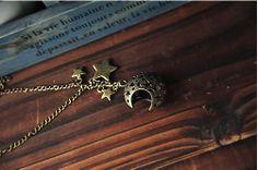 retrohollow out moon stars bronze pendant necklace