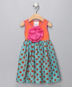 Take a look at this Orange Polka Dot Peony Dress - Infant, Toddler & Girls by Freckles + Kitty on #zulily today!