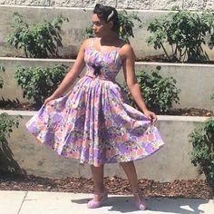 Wearing @pinupgirlclothing Ella Dress in Lavender Lips Print  shoes by @baitfootwear #pinupgirlclothing #pinupgirlstyle #ashleeta #pinup #blackpinup