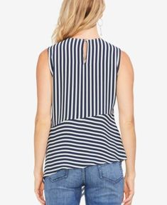 Vince Camuto Striped Asymmetrical Top - Blue S Asymmetrical Tops, Sewing Clothes, Blouse, Vince Camuto, Cute Dresses, Clothes For Women, Womens Fashion, How To Wear, Sewing Ideas