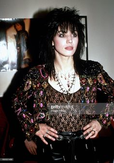 Joan Jett backstage when Joan Jett & the Blackhearts perform on Broadway circa 1989 in New York City.